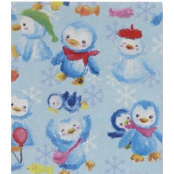 Weihnachts-Seidenpapier; 50 x 70 cm; Schneemann + Pinguinkinder; hellblau; 965162; Seidenpapier, geprägt, 25g/qm