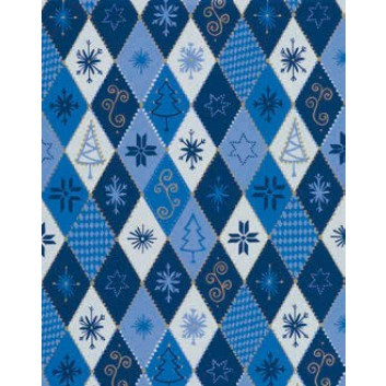 Weihnachts-Seidenpapier; 50 x 70 cm; Rhomben; blau; 465543; Seidenpapier, geprägt, 25g/qm