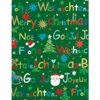 Weihnachts-Seidenpapier; 50 x 70 cm; Text: Frohe Weihnacht international; bunt auf grünem Grund; 465620; Seidenpapier, geprägt, 25g/qm