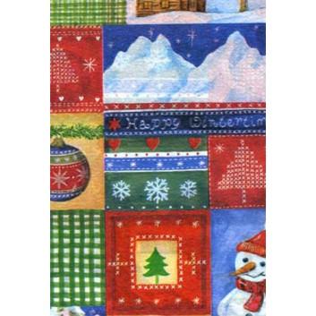 Weihnachts-Seidenpapier; 50 x 70 cm; Viele Weihnachtsmotive mit Schneemann; bunt; 5153; Seidenpapier, geprägt, ca. 25g/qm; Rückseite unbedruckt