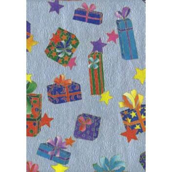 Weihnachts-Seidenpapier; 50 x 70 cm; Geschenkpäckchen; bunt auf silber; 5186; Seidenpapier, geprägt, ca. 25g/qm; Rückseite unbedruckt