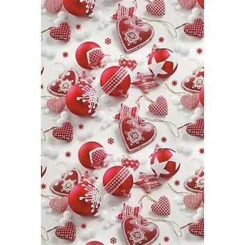 Weihnachts-Seidenpapier; 50 x 70 cm; Fotomotiv: Weihnachtskugeln,Landhausstil; rot-weiß; 666318; Seidenpapier, geprägt, ca. 30g/qm