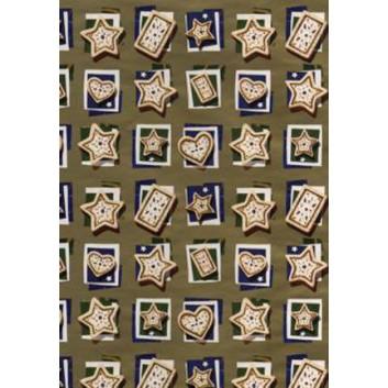 Horn Weihnachts-Geschenkpapier, Bogen; 50 x 70 cm; diverse Lebkuchenformen; gold; 23-H6063; Exclusivpapier