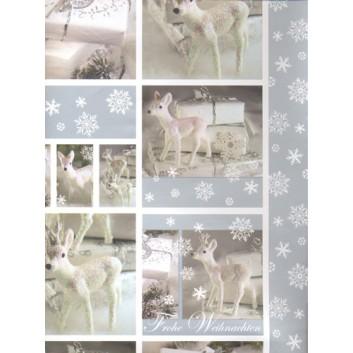 Weihnachts-Geschenkpapier, Bogen; 50 x 70 cm; weißes Reh & Geschenke; weiß-silber; 8159; Exclusivpapier