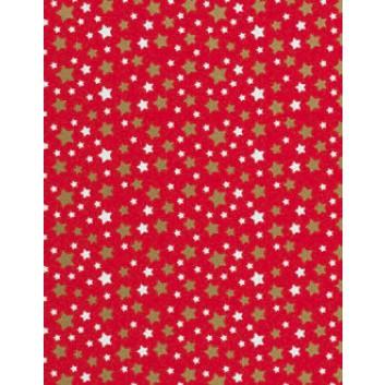 Weihnachts-Geschenkpapier, Großrolle; 50 cm x 250 m; Weihnachts-Sterne in weiß und gold auf r; rot; 3A5533