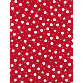 Weihnachts-Geschenkpapier, Großrolle; 50 cm x 250 m; Sternchen in Kreisen; rot-grün-weiß; 5A5829; Geschenkpapier, gestrichen-glatt 80 g/qm