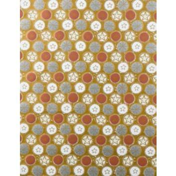 Weihnachts-Geschenkpapier, Großrolle; 50 cm x 250 m; Sternchen in Kreisen; gold-silber-braun-weiß; 5A5833; Geschenkpapier, gestrichen-glatt 80 g/qm