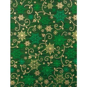 Weihnachts-Geschenkpapier, Großrolle; 50 cm x 250 m; Kristallsterne; grün-gold; 5A5842; Geschenkpapier, gestrichen-glatt 80 g/qm
