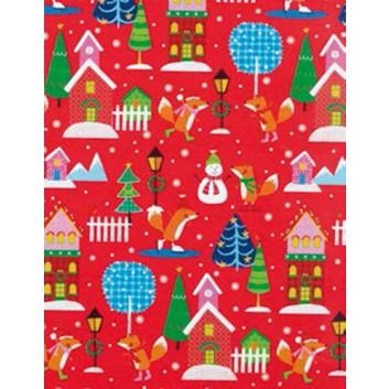 Weihnachts-Geschenkpapier, Großrolle; 50 cm x 250 m; Kindermotiv: Schneemann, Fuchs, Häuser; bunt auf rot; 5A5853