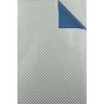 Weihnachts-Geschenkpapier, Großrolle; 50 cm x 250 m; Bicolor: weiße Sterne und Streifen; silber-dunkelblau; 6A6304