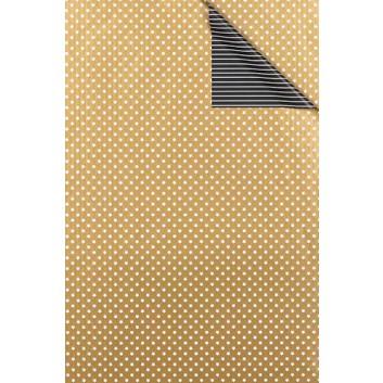 Weihnachts-Geschenkpapier, Großrolle; 50 cm x 250 m; Bicolor: weiße Sterne und Streifen; gold-schwarz; 6307