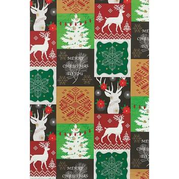 Weihnachts-Geschenkpapier, Großrolle; 50 cm x 250 m; Hirsche, Tannen und Text in Kästchen; grün-rot-gold-schwarz; 6A6309