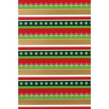 Weihnachts-Geschenkpapier, Großrolle; 50 cm x 250 m; Linien aus Sternchen und Schneeflocken; grün-rot-gold-weiß; 6A6310