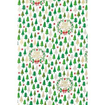 Weihnachts-Geschenkpapier, Großrolle; 50 cm x 250 m; Tannen und Text auf weißem Grund; Christmas Wreath: grün-weiß-rot; 6A6311