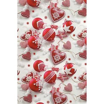 Weihnachts-Geschenkpapier, Großrolle; 50 cm x 250 m; Fotomotiv: Weihnachtskugeln,Landhausstil; rot-weiß; 6A6318