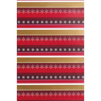 Weihnachts-Geschenkpapier, Großrolle; 50 cm x 250 m; Linien aus Sternchen und Schneeflocken; rot-bordeaux-gold-weiß; 6A6319