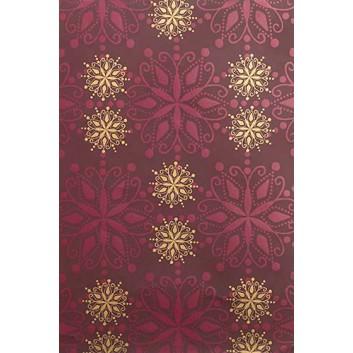 Weihnachts-Geschenkpapier, Großrolle; 50 cm x 250 m; Schneekristalle; bordeaux-gold; 6A6329; Geschenkpapier, gestrichen-glatt 80 g/qm
