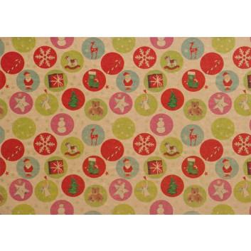 Weihnachts-Geschenkpapier, Großrolle; 50 cm x 250 m / 70 cm x 250 m; Kinder-Symbole, Hintergrund: natur-braun; Kinder; 295424