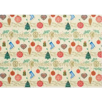 Weihnachts-Geschenkpapier, Großrolle; 50 cm x 250 m / 70 cm x 250 m; Weihnachts-Anhänger; creme-braun; 2A5428