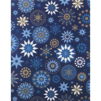 Weihnachts-Geschenkpapier, Großrolle; 50 cm x 250 m; Barocke Sterne und Kristalle; blau mit weiß-gold; 8A819715