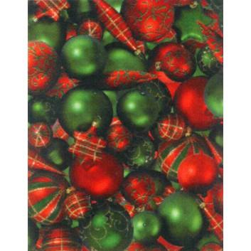 Weihnachts-Geschenkpapier, Großrolle; 50 cm x 250 m; Fotomotiv: Christbaumkugeln; rot-grün; 8A8220; Geschenkpapier, gestrichen-glatt 80 g/qm