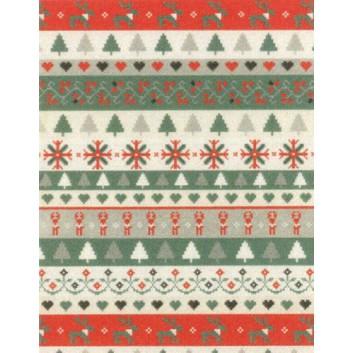 Weihnachts-Geschenkpapier, Großrolle; 50 cm x 250 m; Streifen mit Weihnachtspixelmotiven; rot-weiß-taupe; 8A8385011