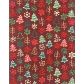 Weihnachts-Geschenkpapier, Großrolle; 50 cm x 250 m; Tannenbäume; rot-grün auf bordeaux; 8A8497; Geschenkpapier, gestrichen-glatt 80 g/qm
