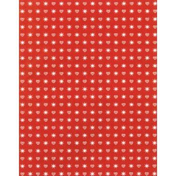 Weihnachts-Geschenkpapier, Großrolle; 50 cm x 250 m; Herzchen und Sterne; rot mit gold und weiß; 8A8508; Geschenkpapier, gestrichen-glatt 80 g/qm