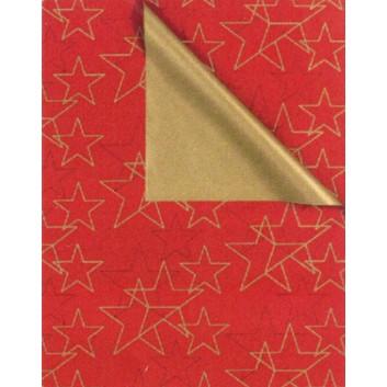 Weihnachts-Geschenkpapier, Großrolle; 50 cm x 250 m, Secare-Rolle; Bicolor: Sterne - uni; rot-gold; 8A85231