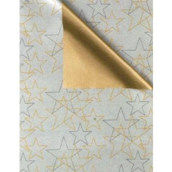 Weihnachts-Geschenkpapier, Großrolle; 50 cm x 250 m, Secare-Rolle; Bicolor: Sterne - uni; silber-grau-gold; 8A85235