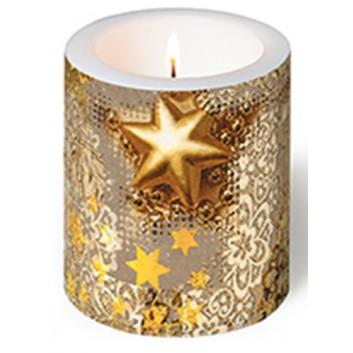 Paper + Design Weihnachts-Dekor-Kerze; Gold rush; gold; Ø 9 cm, Höhe 10 cm; in Folie verpackt