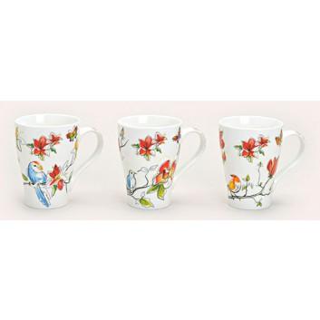 Kaffeebecher; 250 ml; Vögel - 3 Varianten sortiert; bunt; Porzellan, DU: 5,7/8,3 cm, Höhe: 11 cm; Lieferung der Motive nach Verfügbarkeit