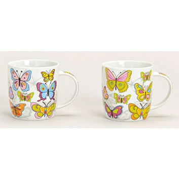 Kaffeebecher; 350 ml; Schmetterlinge - 2 Varianten sortiert; bunt; Porzellan, DU: ca.8,8 cm, Höhe: 9 cm; Lieferung nach Verfügbarkeit
