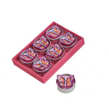 Teelichtkerzen; Schmetterlinge; pink; 4 x 4 x 2 cm; 6er Set in farbigem Holzkästchen