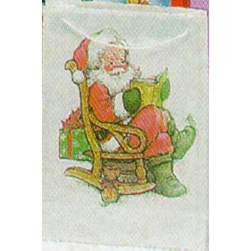 Weihnachts-Präsent-Tragetasche; 20 + 9 x 28 cm; Nikolaus; eingeknüpfte Kordel