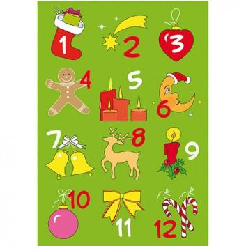 HERMA Weihnachts-Schmuck-Etiketten; 7,5 x 10 cm (Blattformat); Adventskalenderzahlen, 1 - 24; bunt; 15253; selbstklebend; Papier, beglimmert