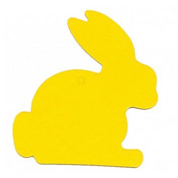Anhängekarte, Karton; ca. 5,8 x 6,2 cm; Hase; gelb; mit Aufhängeloch/-stanzung; ohne Kuvert