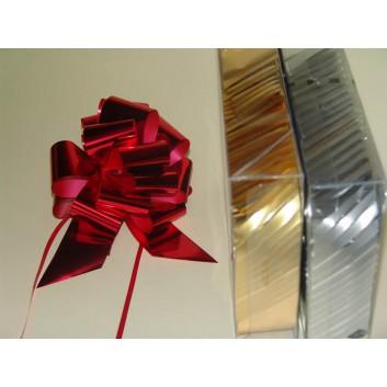 Poly-Zugschleife; 47 mm, fertig abgelängt; uni: metallic-glänzend; gold / silber / rot; Polyband/Kräuselband metallisiert