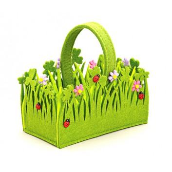 Filzkörbchen -Blumen-; Frühlingswiese: Blumen, Marienkäfer; grün-bunt; ca. 18 x 10 x 11 cm