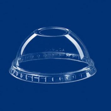 Dom-Deckel mit Öffnung für 821096; für Clear-Cup-Becher #821096; klar, unbedruckt; mit Loch, gewölbt; PET = Polyethylenterephthalat, recycelb.