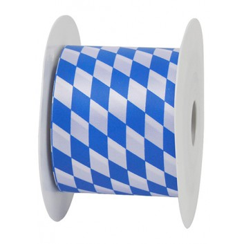 GoldiDecor Geschenkband; 70 mm x 25 m; bayerisch Raute; weiß-blau; Polyester, Schnittband