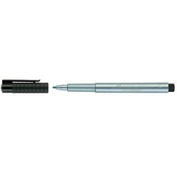 Faber-Castell PITT artist pen Tuschestift; blau-metallic; 1,5 mm; Rundspitze; permanent, wasserfest, säurefrei; Tuschestift; Schaft in Schreibfarbe