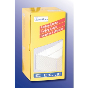 Avery Zweckform Frankier-Etiketten; 163,0 x 43,0 mm; weiß; Papier; permanent; Hersteller-Nr: 3433