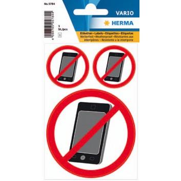 HERMA Verbotsetiketten: Kein Handy; Handyverbot; uni; weiß; 5784