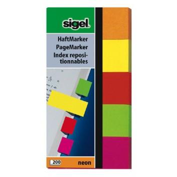 Sigel Haftmarker Neon; 50 x 100 mm; 5 Farben sortiert; Papier; Standard, ablösbar; 5 Blöcke á 40 Blatt