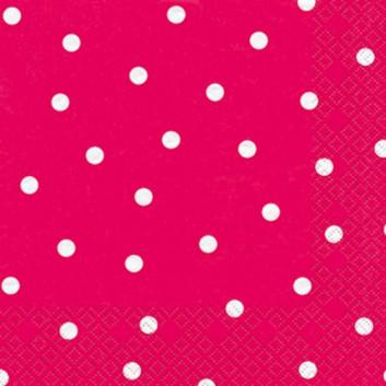 HomeFashion Cocktail-Servietten; 25 x 25 cm; Punkte; berry: weiß auf pink; 111217; 3-lagig; 1/4-Falz (quadratisch); Zelltuch