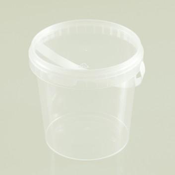 Kunststoffeimer mit Deckel, rund; 1180 ml; klar; PP Spritzguss; mit Originalitätsverschluss und Henkel; Durchmesser: 133 mm / Höhe: 130 mm