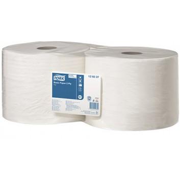 TORK Putztuch, Maxirolle; 23,5 x 34,0 cm (B x L); 2-lagig; weiß; 510 m = 1500 Tücher; Tissue; Standard-Papierwischtuch; geprägt; für Spender W1