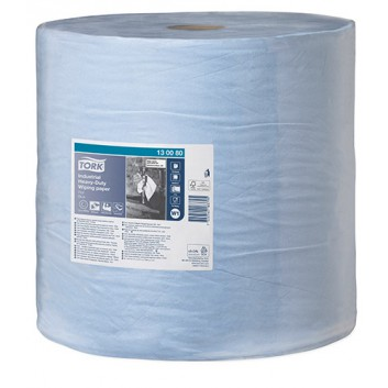 TORK Putztuch, Maxirolle 3-lagig; 37,0 x 34,0 cm (B x L); 3-lagig; blau; 255 m = 750 Tücher; Tissue+; extrastarkes Industriewischtuch