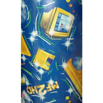 Papier-Stein Geschenkpapier; 50 cm x ca. 250 m; Computerwelt; blau; 16; Geschenkpapier gestrichen weiß, glatt; Secare-Rolle